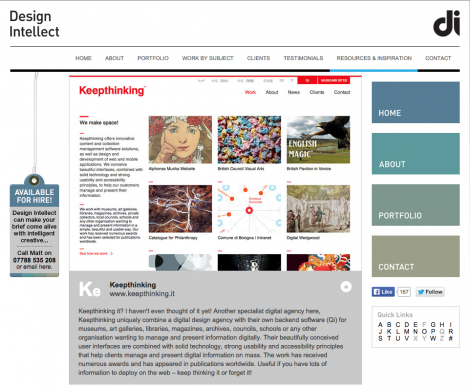 Screen grab of the online publication Design Intellect, Keepthinking on Design Intellect