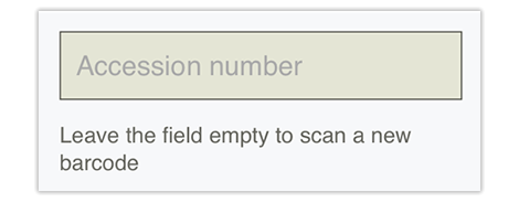 Accession number field in Qute, If you don't have a barcode you can just enter the accession number