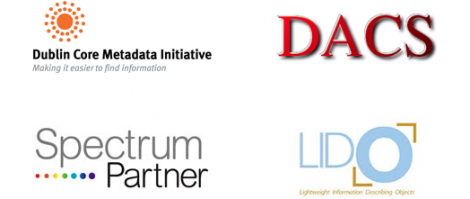 Logos of Dublin Core Metadata Initiative, DACS, Spectum Partner and Lido