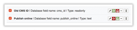 Screen of configured fields in Qi, set as public or private,Configured fields in Qi, set as public or private