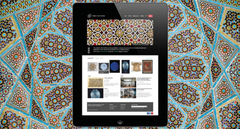 The Islamic Art Online website seen on an ipad, The Islamic Art Online website on an ipad