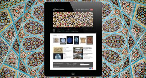 The Islamic Art Online website seen on an ipad,The Islamic Art Online website on an ipad