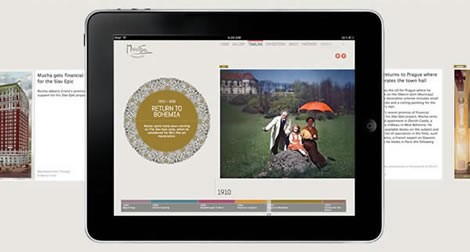 The Mucha Foundation timeline seen on an ipad
