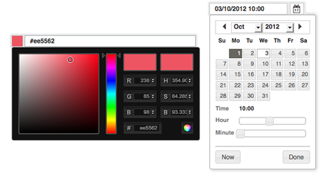 Screen of the new colour picker and combined date and time picker, The new colour picker and combined date and time picker