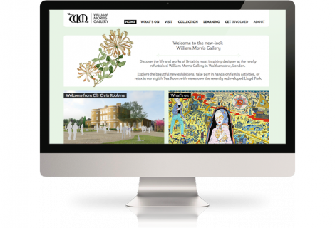 The William Morris Gallery website on a desktop computer.,William Morris on a large screen
