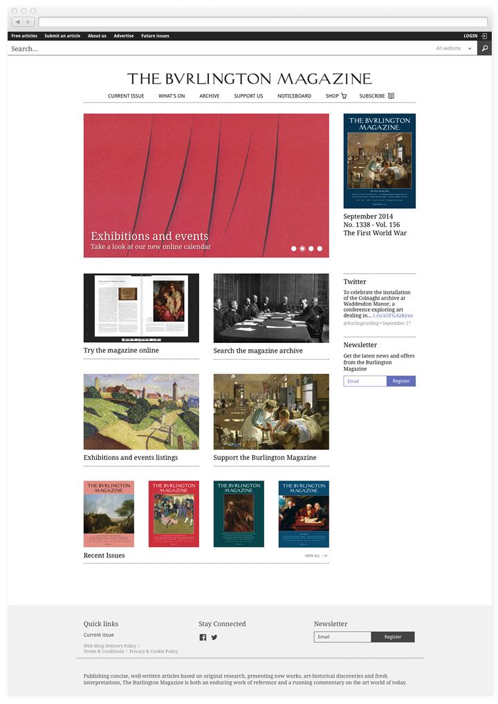 Screen of the Burlington Magazine home page.