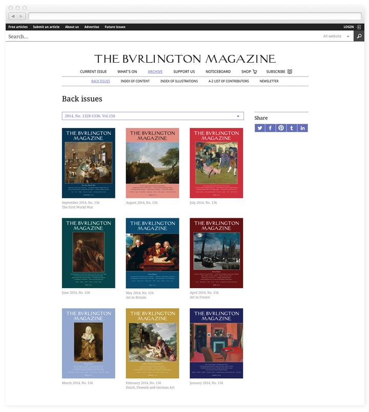 Screen of the Burlington Magazine issue list page.