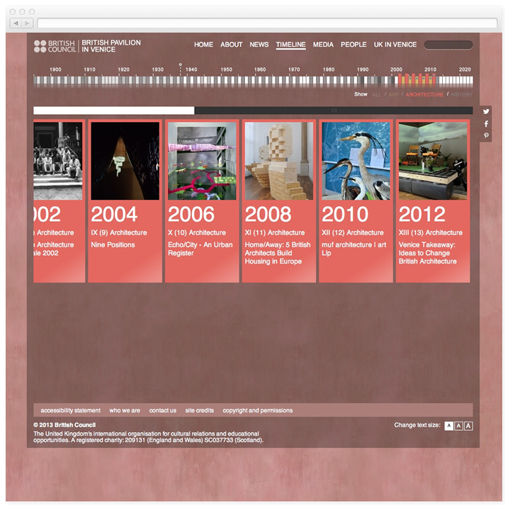 Screen of the British Pavilion in Venice timeline page filtered by architecture.