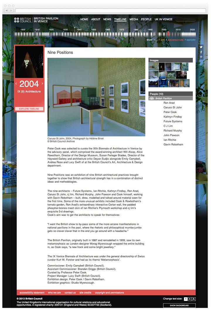 Screen of the British Pavilion in Venice page for year 2004.