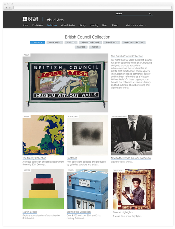 Screen of the British Council Visual Arts collection landing page.
