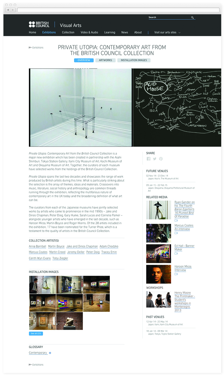 Screen of the British Council Visual Arts exhibition page.