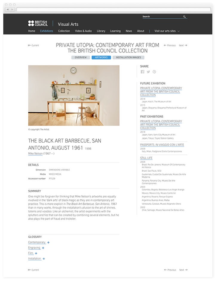 Screen of the British Council Visual Arts work of art page.