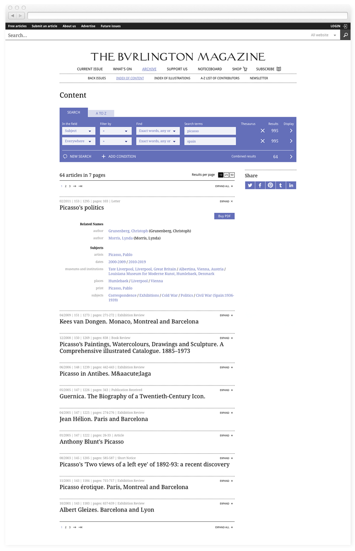 Screen of the Burlington Magazine index search page.