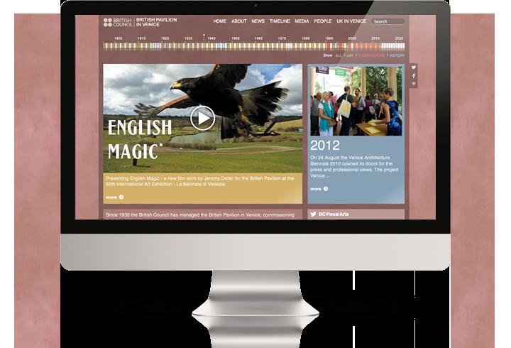 The British Pavilion in Venice website on a desktop computer.