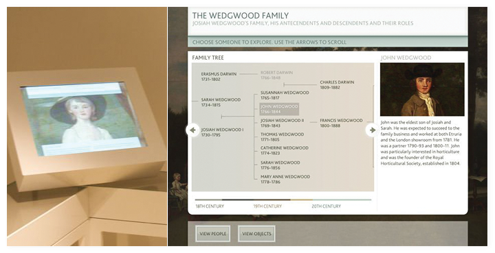 The Family tree interactive in the museum and a screen close up.