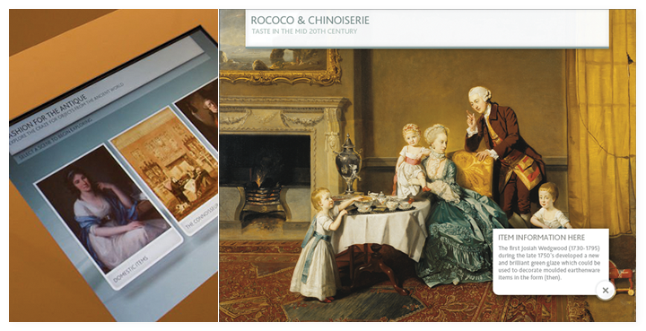 The Rococo interactive in the museum and a screen close up.