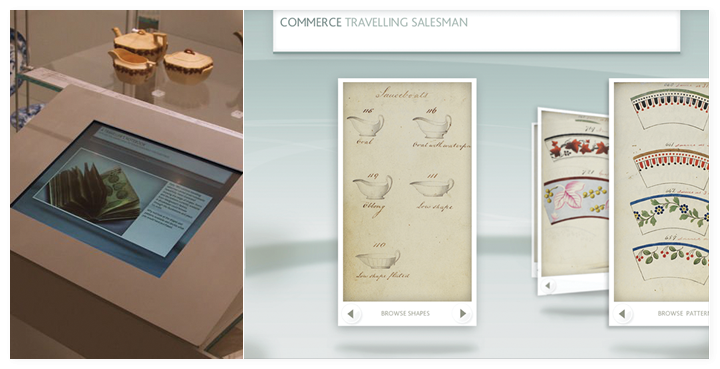 The Travelling salesman handbook interactive in the museum and a screen close up.