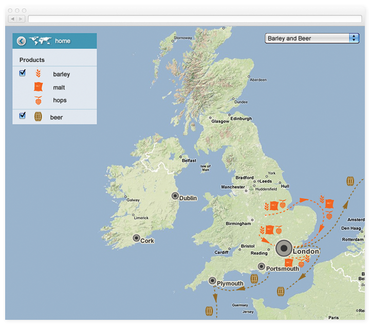 Traffic map of barley and beer in the UK.