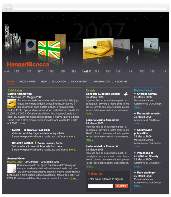Screen of the Hangar Bicocca website homepage.