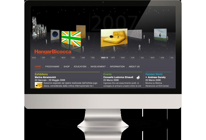 The Hangar Bicocca website on a desktop computer.