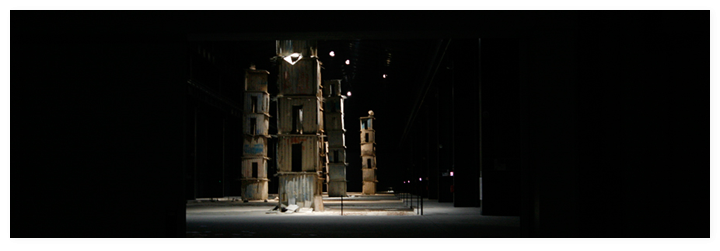 View of the permament exhibition of seven towers I sette palazzi celesti by Anselm Kiefer in Hangar Bicocca gallery.