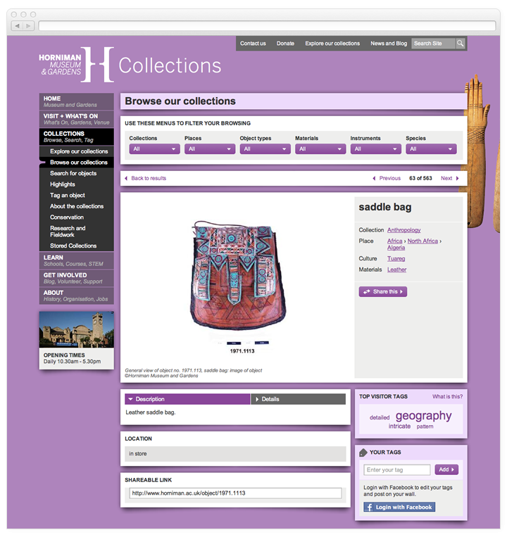 Screen of the Horniman Museum object page.