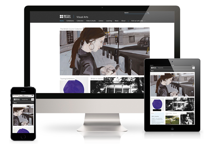 The British Council Visual Arts website on a desktop computer, mobile and tablet.