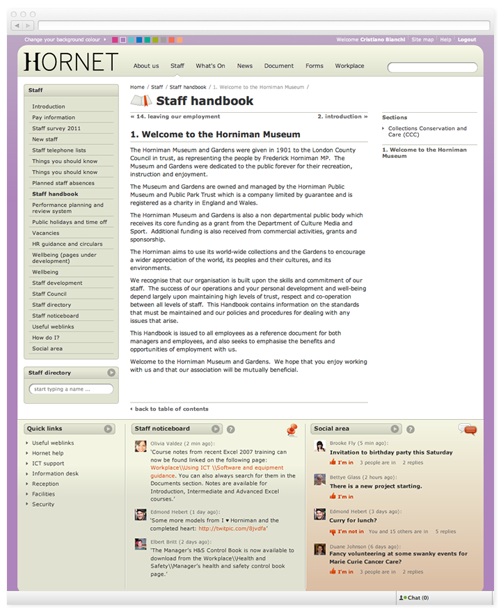Screen of Hornet handbook page.