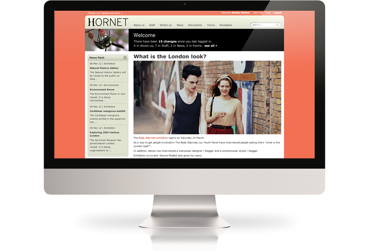 The Horniman Museum intranet (Hornet) on a desktop computer.