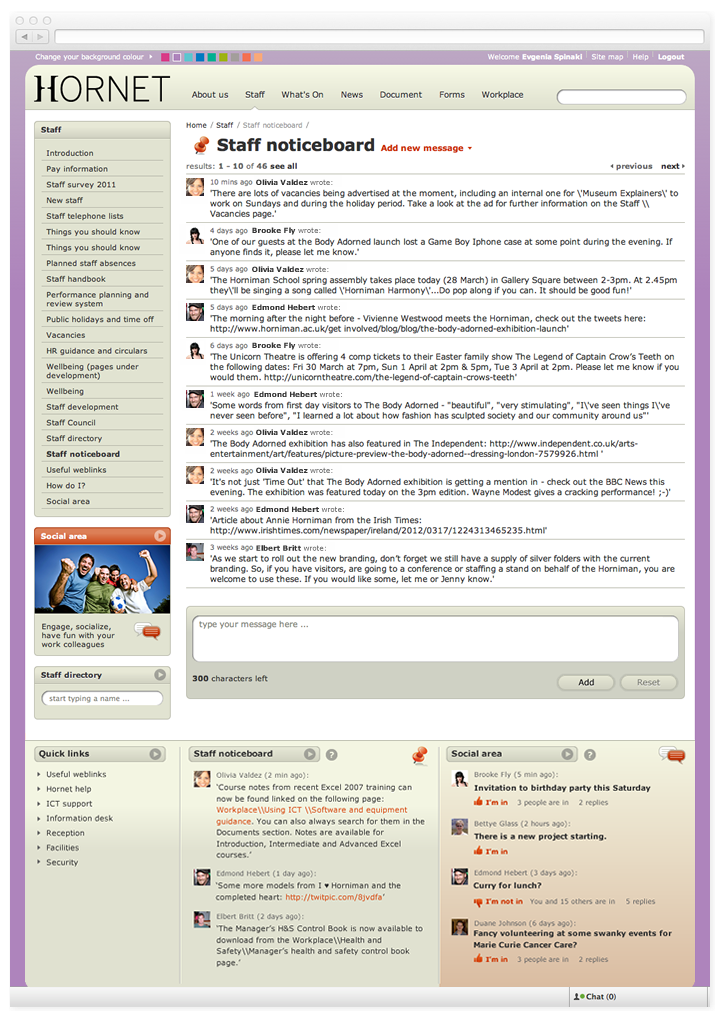 Screen of Hornet noticeboard page.