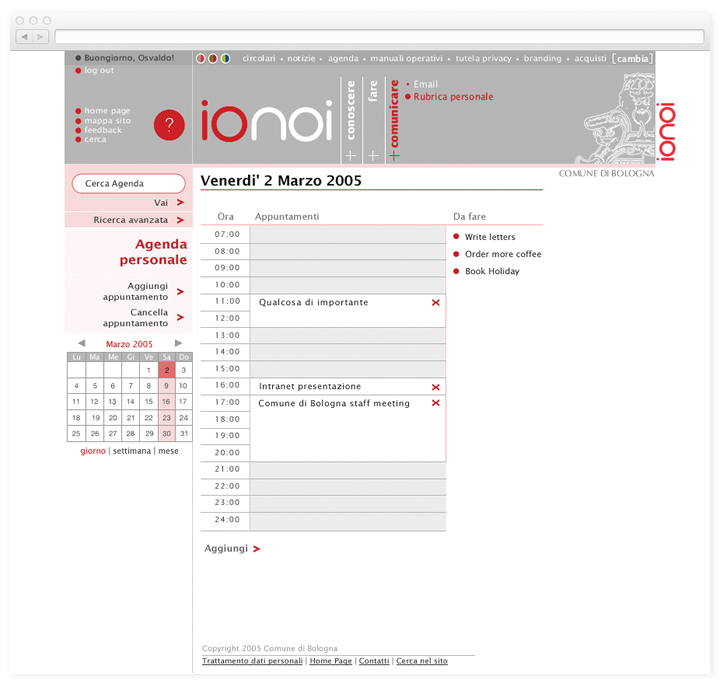 Screen of the Ionoi calendar page.