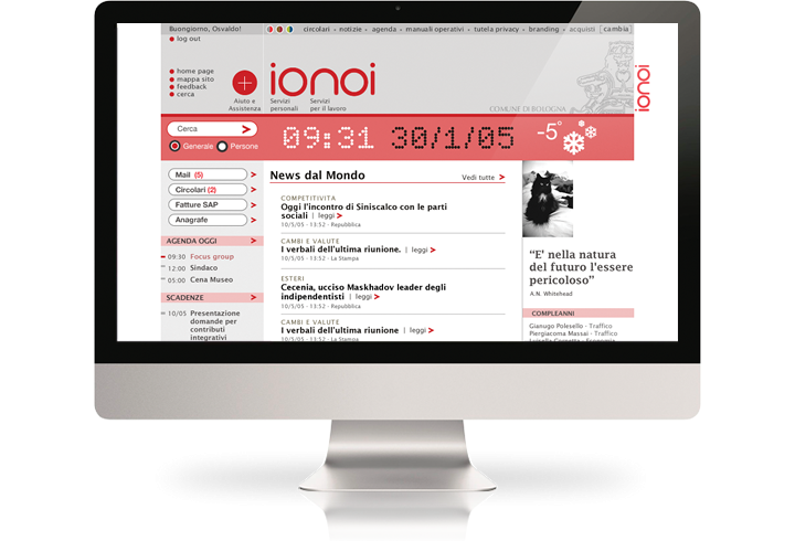 The Comune di Bologna intranet (Ionoi) on a desktop computer.
