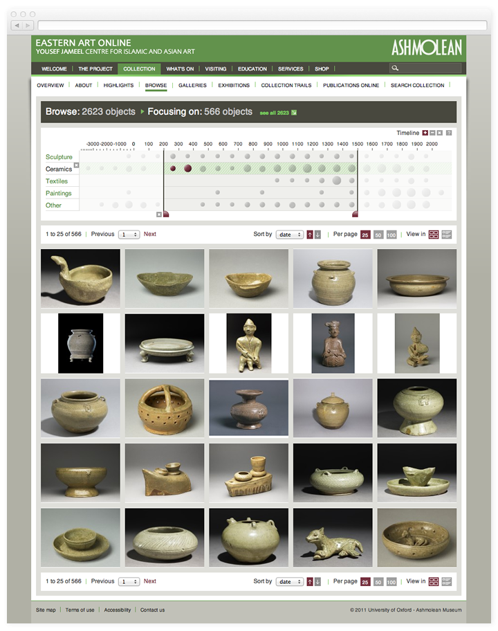 Screen of the Jameel Centre collection browse page.