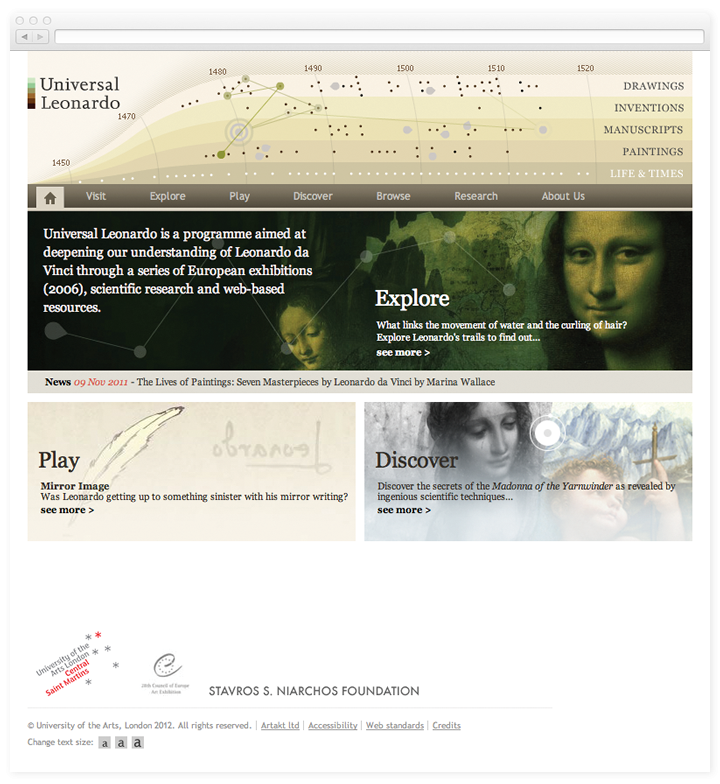Screen of the Universal Leonardo homepage.
