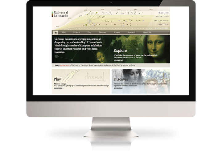 The Universal Leonardo website on a desktop computer.