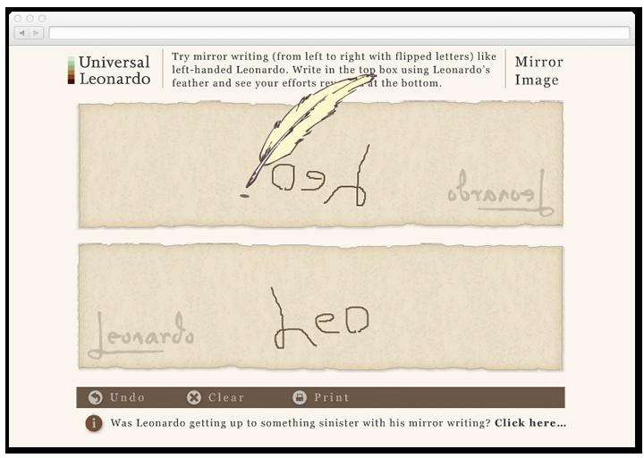Screen of the Universal Leonardo mirror image interactive.