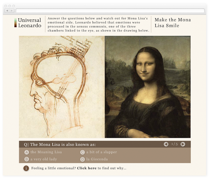 Screen of the Universal Leonardo Make the Mona Lisa Smile interactive.