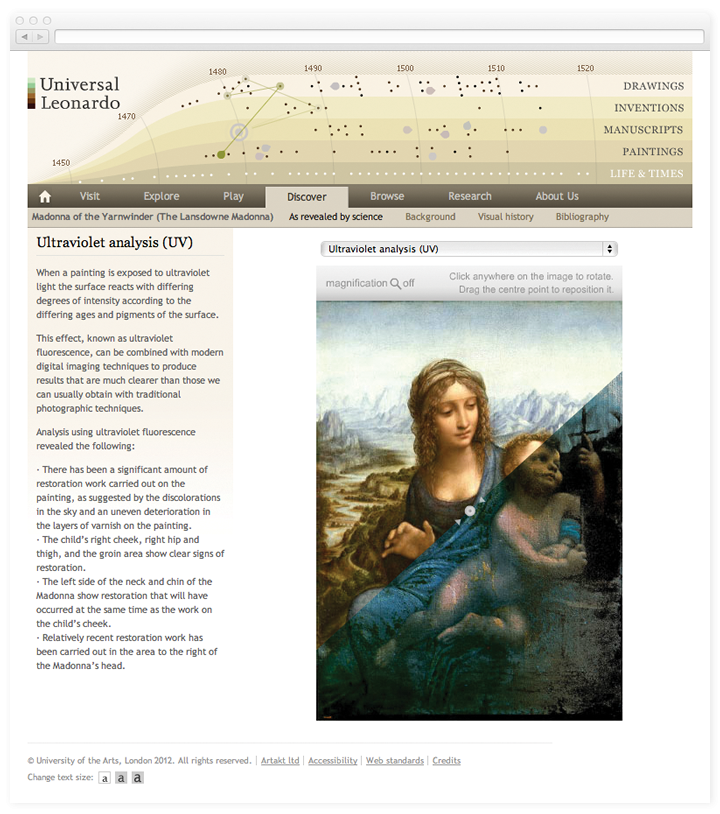 Screen of the Universal Leonardo discover page showing image with ultraviolet analysis.