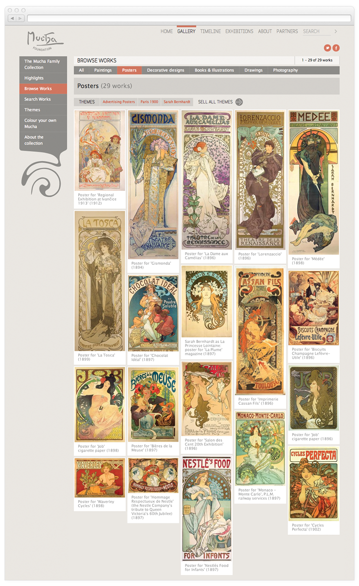 Screen of the Mucha Foundation gallery browse page.
