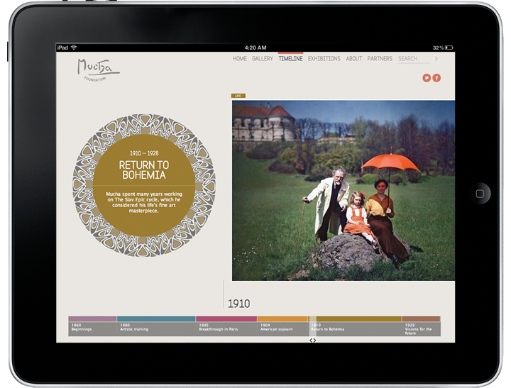 The Mucha Foundation website on a tablet.