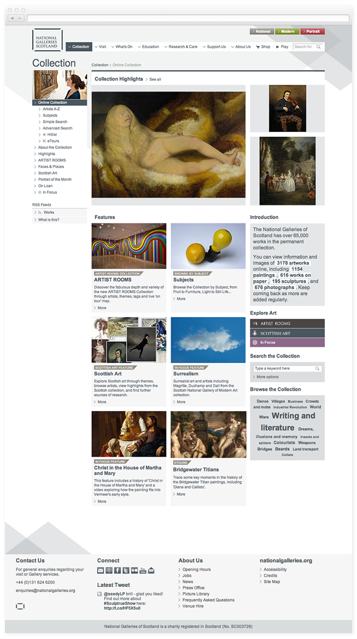 A screen of the National Galleries of Scotland collection page.