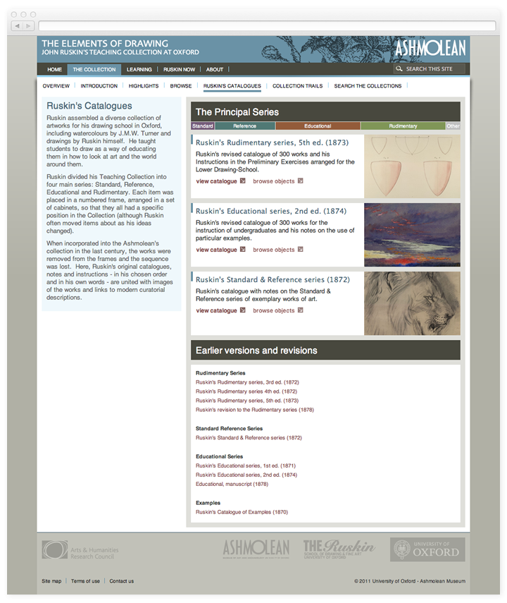 Screen of the Elements of Drawing catalogues page.