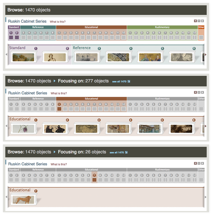 Screen of the Elements of Drawing website interactive in various states.