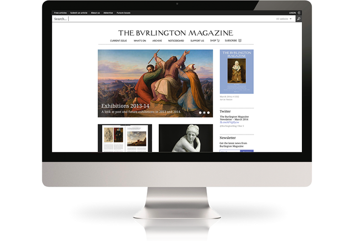 The Burlington Magazine website on a desktop computer.