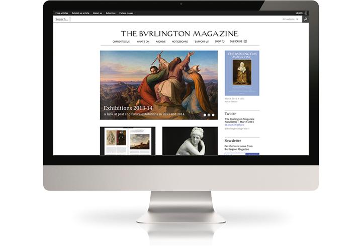 The Burlington Magazine website on a desktop computer.