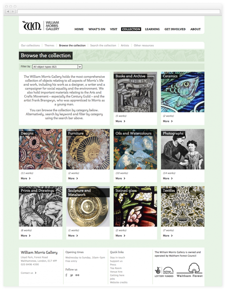 Screen of the William Morris Gallery collection browse page
