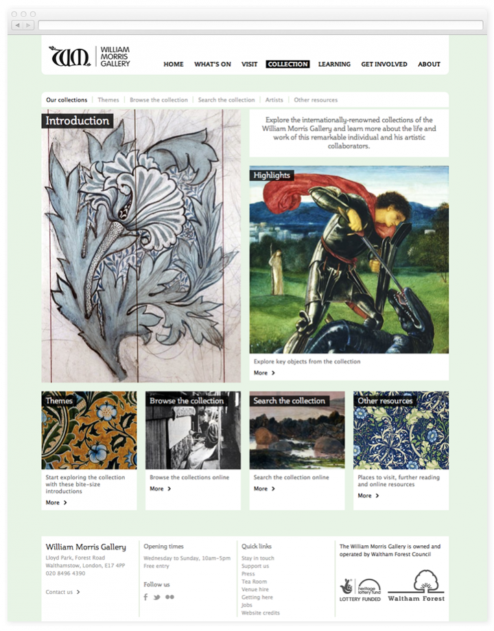 Screen of the William Morris Gallery collection landing page