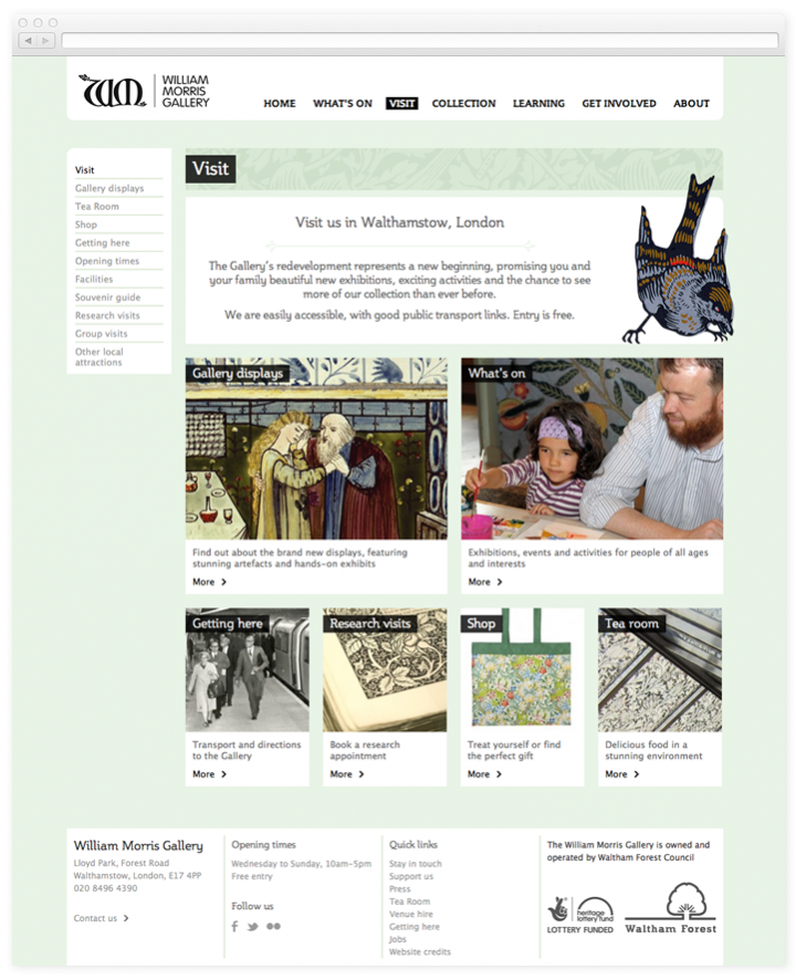 Screen of the William Morris Gallery visit page